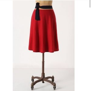 Anthropologie Girls from Savoy Red Sweater Skirt